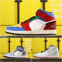 1s Mid x CLOT Slik Chaussures de basket Gris Blanc Athlétique Hommes Femmes Chaussures Designer Casual Racer Sport Baskets Trending Chaussures en ligne