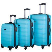 3 bitar av bagage, bärbar abs trolleyfall 20/24/28 inches himmelblå, expanderbart 8-hjuls roterande bagagefall, med teleskophandtag, t
