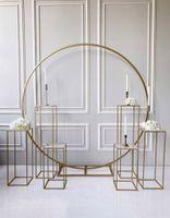 grand-evento fondali puntelli geometriche Wedding Arch fiore all'aperto Palloncini fiori prato sportello del rack titolari ghigliottina ferro cerchio arco di nozze