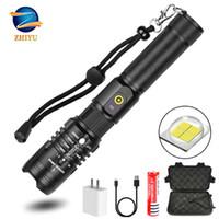 مشاعل مصباح يدافع Zhiyu كري XHP50 LED سوبر مشرق التكتيكية الكهربائية الشعلة usb قابلة للشحن زوخر 5 أوضاع للماء