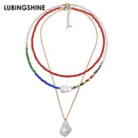 Fashion Handmade Beaded Necklace Multi- layer Color Beads Irr...