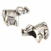 Charms Beads For Jewelry Making DIY Snake Chains Bracelets Alloy Elephants Retro Silver Big Hole Metal Crafts Accessories 15*8*12mm 100pcs