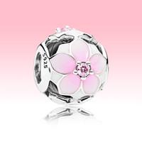 Encanto de flor de magnolia rosa a cielo abierto con caja original para Pandora 925 perlas de plata esterlina brazalete pulsera haciendo encantos