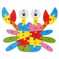 التعليم في مرحلة الطفولة المبكرة الكرتون التعليمي لغز حيوان خشبي 26 حرف لغز تنمية ذكاء لعبة خشبية متعددة الوظائف