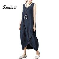 Saiqigui Yaz Elbise Kolsuz Kadın Elbise Rahat Gevşek Katı O-Boyun Pamuk Keten Lager Boyutu Vestidos de Festa
