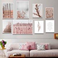Настраиваемый розовый вейником цветок завод стены искусства Картина Аннотация Красивая Unframed холст картины росписи декора дома Плакат
