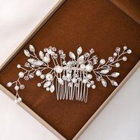Pelo de la boda adornos de joyería cristalina del pelo Peines Peines nupcial diamantes de imitación perla casco hecho a mano accesorios para el cabello Mujeres Tiara