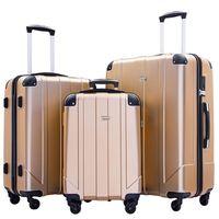 """3 Stück Kofferset, beweglicher ABS Trolley 20"""" / 24"""" / 28"""" Gold, erweiterbares 8-Rad-Spinner Gepäck Set mit Teleskopgriff, Co"""