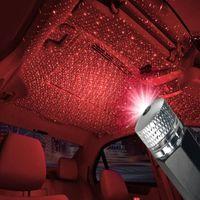 USB جو ضوء السيارة سقف السيارة الداخلية مصباح الديكور ستار سقف إسقاط الداخلية أضواء ستار اكسسوارات السيارات