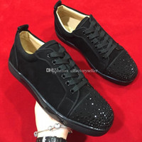 Special Offer 2020 camoscio nero con strass Strass pattini inferiori rossi di uomini donne scarpe basse suole rosse Low sneaker Lace-Up Shoes Casual