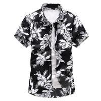 Homens Casual Camisas 2021 Estilo de Verão Mens Camisa havaiana Moda Masculino Manga Curta Flor Roupas Plus Size 5XL 6XL 7XL