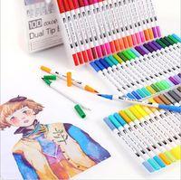 لون أقلام الفن ثنائي تلميح فرشاة ماركر أقلام فينيلينر مائية الفن علامات الخط تلوين الرسم اللوحة هدية عيد LSK304