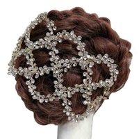 Antik Altın Gümüş Renk Düğün Gelin Saç Asma Kafa Tam Rhinestones Düğün Başlığı Saç Aksesuarları Handmaid