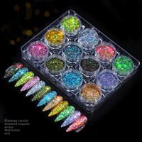 12 Kutu Tırnak Mermaid Glitter Toz Pulları Sparkly 3D Işık Bukalemun Renk Değiştirme Sequins Lehçe Manikür Nail Art Süslemeleri