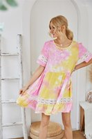 꽃 해변 드레스 휴일 느슨한 캐주얼 내기 미니 드레스 여름 기본 여성 디자이너 드레스 여자 여름 드레스 불규칙한 넥타이 염료