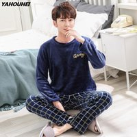 2020 Winter Thick Warm Flannel Pajama Sets For Men Long Slee...