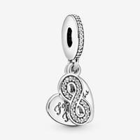 100% 925 Sterling Silver Silver Forever Friends Heart Dangle Charms Fit Fit Original European Charm Bracciale Braccialetto per gioielli di moda