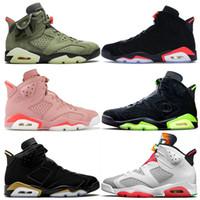 nike air jordan 6 travis scott 6 retro 6 mens scarpe da basket dimensioni Camo Travis Scotts 6 Millenario Rosa Nero infrarossi formatori scarpe da tennis 13 delle donne