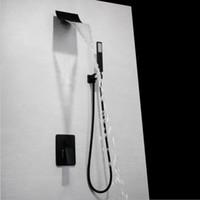 매트 블랙 마침 벽은 대형 폭포 샤워 헤드 수도꼭지 설정을 누릅니다 황동 욕조 샤워 3 자 샤워 밸브 믹서 세트를 장착