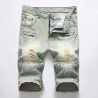 Hommes Taped Biker Jean Shorts d'été marque cuissard Jeans Hommes élastique droite Hommes Shorts Jeans Zipper Demin 28-42