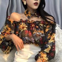 Sexy de Slash Neck Alças Blusas femininas 2020 Flor Primavera Verão camisas manga comprida Blusa Senhora Vintage Tops Chemise