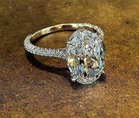 Sprankelende Luxe Sieraden Real 925 Sterling Zilver Grote Ovaal Cut White Topaz CZ Diamond edelstenen Eternity Women Wedding Band Ring Gift