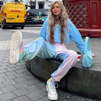 Nuevo diseñador de moda para mujer ocasional otoño con paneles pantalones rectos danza deportiva desgaste Capris streetwear estilos de la calle de hip-hop pantalones sueltos largos