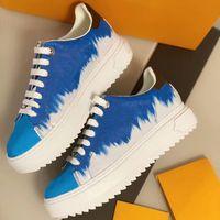 Box ile Top Kalite Kadınlar Platformu Time Out Sneaker En Dana derisi Deri Dantel-up Ayakkabı Runner Eğitmenler 3D Monogram Çiçekler Sneakers