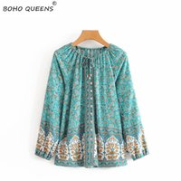 Happie chic women floral printed v- neck lace- up Boho blouse ...