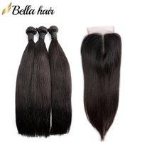 Peruviana diritta Tessiture estensioni dei capelli 3 bundle con la chiusura della parte centrale superiore del merletto 4x4 chiusure trama dei capelli di colore naturale Bellahair