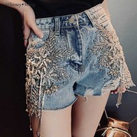 WHITNEY WANG Shorts 2020 Spring Summer Fashion Street Pailletten Spitze Florals Quaste Denim Shorts Frauen Jeans plus Größe 5XL