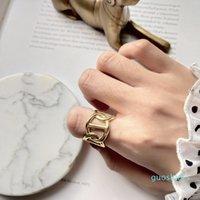 de luxo - 925 Sterling Silver anéis entrelaçados Abertas Moda Ouro Índice de vento industrial dedo anéis para Mulheres originais Y19051602 Jóias
