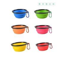 Dobradas Dog Bowl animal Silicone Círculo Alpinismo Botões bacias coloridas flexíveis animais Louça retrátil Pet Shop 5 5sla C2