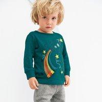 NUEVO 2020 niños ropa de la muchacha de los niños 100% algodón de manga larga de dibujos animados o-cuello del unicornio despojado de impresión dinosaurio camiseta de los niños del resorte del otoño camiseta