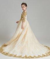 Очаровательного шампанского золото аппликация девушка цветка девушка Brithday платья для девочек официально платья Платья на заказ SZ 2-12 DF705230