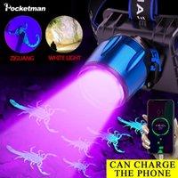 Headlamp 6000LM Puissant 2 en 1 UV Phare phare de lumière USB Rechargeable LED Feuille de phare violette Tête imperméable
