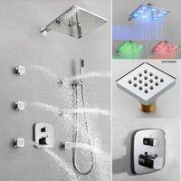 2인치 마사지 제트 십이인치 LED 광장 샤워 헤드 패널 온도 조절 욕조 샤워 키트와 욕실 은폐 된 샤워 세트