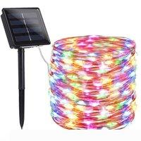La secuencia solar luces LED al aire libre de hadas del alambre de cobre luces 150 200LEDs RGB 8 modos de iluminación para el hogar centelleo de Navidad Fiesta de Navidad