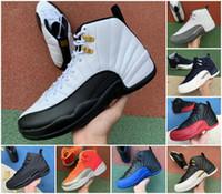 الجديدة 12 Jumpman الرجال أحذية كرة السلة جامعة البيضة أسود لامع لعبة الذهب الرياضة حذاء رياضة كرة السلة الملكي الأبيض رمادي داكن بولز أحذية حجر السج