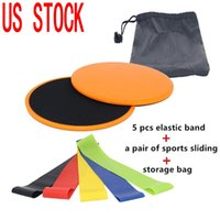 US STOCK! DHL Livraison Fitness Glide Sports plaque coulissante Tapis disque yoga Résistance Elastiques Gym formation entraînement bandes élastiques FY8056