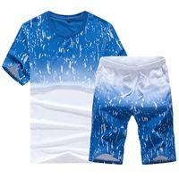 Tracksuits pour hommes Rusanranz Marque Dégradile T-shirt Hommes Vêtements Design T-shirt Été T-shirt Mâle Set Tops + pantalon