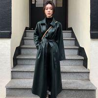 LANMREM Katı Renk İnce Bölünmüş Kemer PU Deri Ceket Giyim 2020 İlkbahar Coat TV517 CX200725 Uzun kollu Tek göğsü