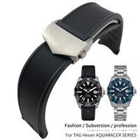 20mm 22mm Reloj de goma de silicona banda pulseras impermeables Negro correa azul de TAG Heuer Aquaracer Calibre 5 300 WAY201B Accesorios Herramientas