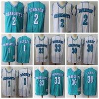 2 Larry Johnson CharlotteHornissenMänner Mitchell Ness 1992-93 HartholzKlassiker Swingman Basketball Jersey Teal