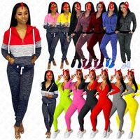 Kadınlar İki adet Kıyafetler Kapşonlu Ceketler Fermuar Coat + Pantolon Eşofman Casual Slim Spor Kıyafetler Yoga koşucu Suit D8409 15 Renkler Tops