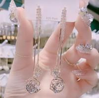 Elmas Takı Drop Shipping olan kadınlar 925 Gümüş İğne Kristal Tasarımcı Gül Dangle Küpe Lüks Pembe Kalp Uzun Küpe