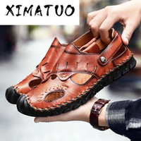 2020 Summer Leather Sandals Men Outdoor Beach Sandals Breath...