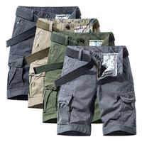 Cargo Shorts Men Casual 2020 Новый Горячий Торговый Хлопок Сплошной Классический Камуфляж Мужские Карманы Ног Изменение Шорты Бермуд 28-38