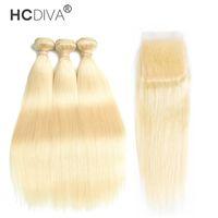 Бразильские девственные пакеты волос с закрытиями 613 блондинки с фронтальными 10-30 дюймами прямые человеческие волосы 3 пакета с 4 * 4 закрытие Hcdiva