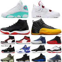 Bred Homens 11 11s tênis de basquete 13s Hiper Royal Aurora 4s Red Metallic 6s Hare 1s Mid Chicago 12s universidade-ouro Mens Formadores Sneakers